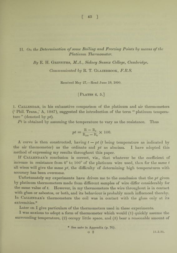 II. On the determination of some boiling and freezing points by means of the platinum thermometer