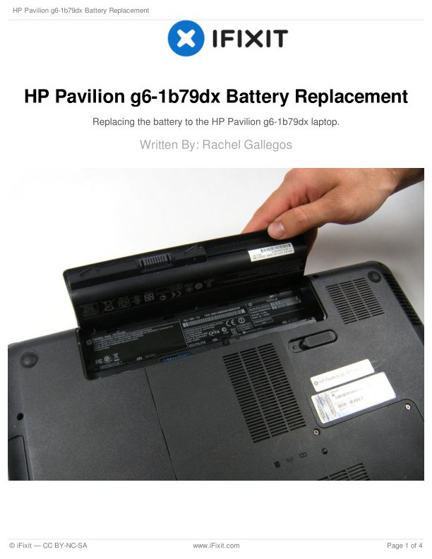 HP Pavilion g6-1b79dx Battery Replacement