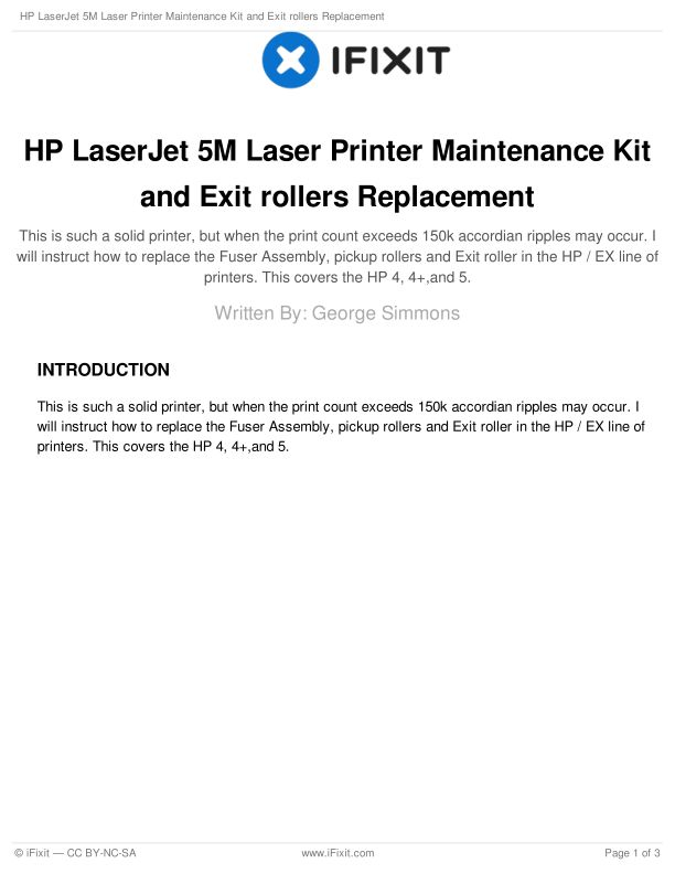 HP LaserJet 5M Laser Printer Maintenance Kit and Exit rollers Replacement