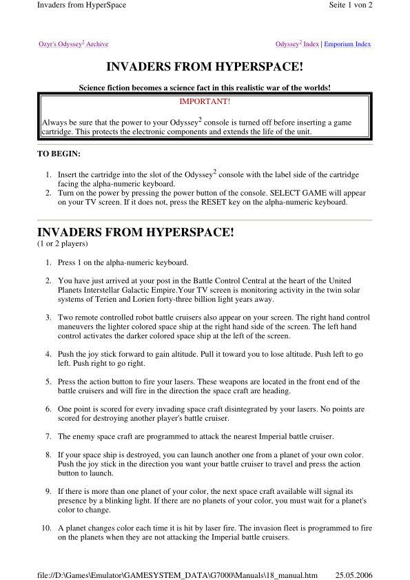 Invaders from Hyperspace! - Magnavox Odyssey 2 - Manual - gamesdatabase.org