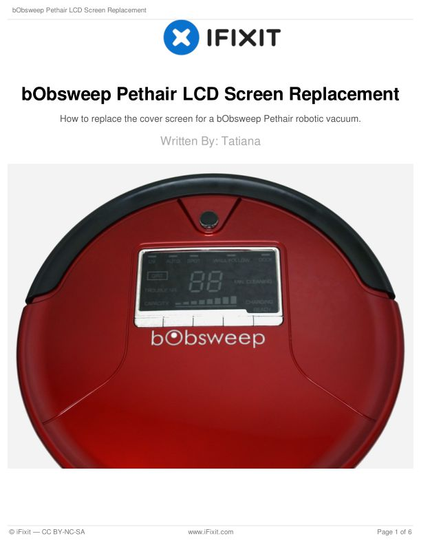 bObsweep Pethair LCD Screen Replacement
