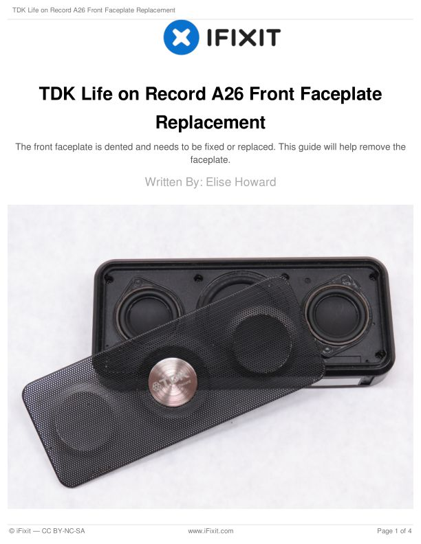 TDK Life on Record A26 Front Faceplate Replacement