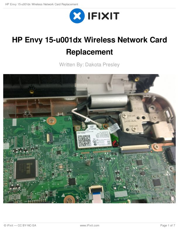 HP Envy 15-u001dx Wireless Network Card Replacement