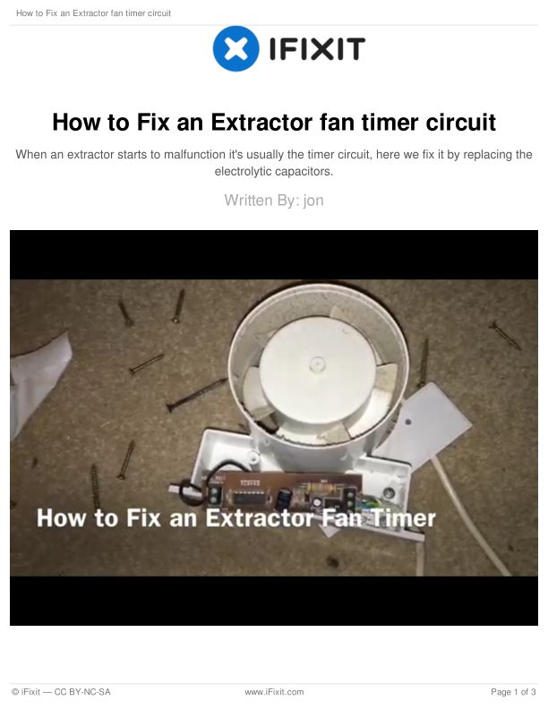 How to Fix an Extractor fan timer circuit