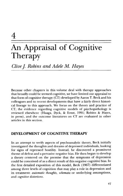 4 An Appraisal of Cognitive Therapy   Page 9
