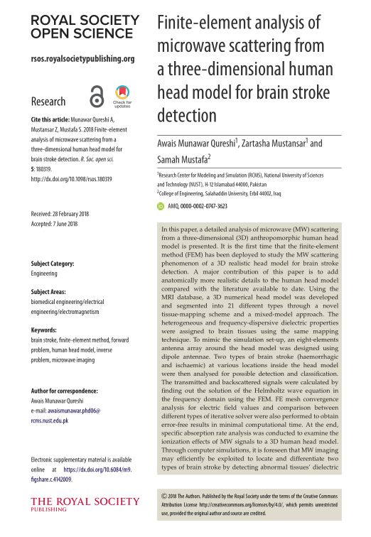 Finite-element analysis of microwave scattering from a three-dimensional human head model for brain stroke detection