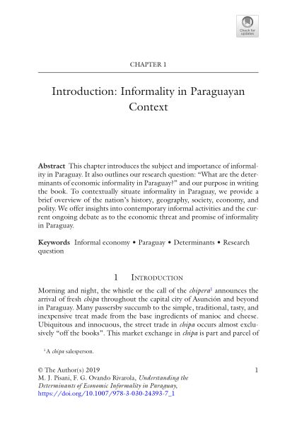 Chapter 1: Introduction: Informality in Paraguayan Context | Page 6