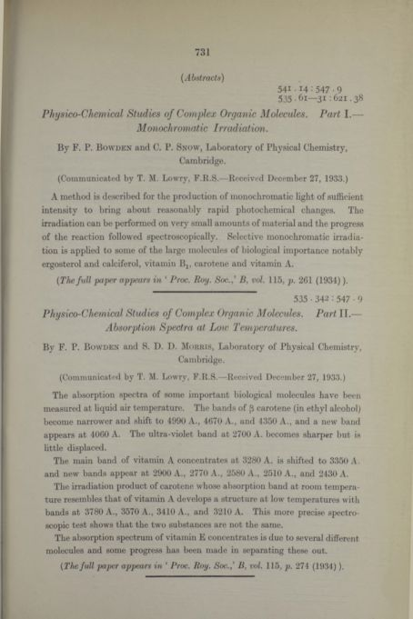 Physico-chemical studies of complex organic molecules. Part I.— Monochromatic irradiation