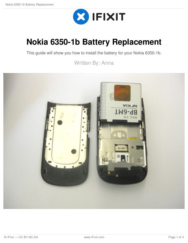 Nokia 6350-1b Battery Replacement