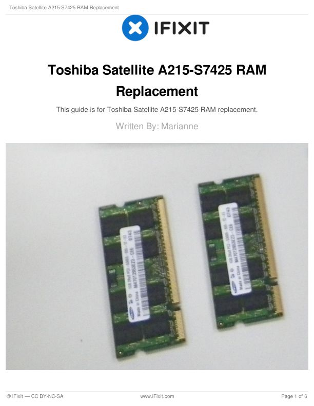Toshiba Satellite A215-S7425 RAM Replacement