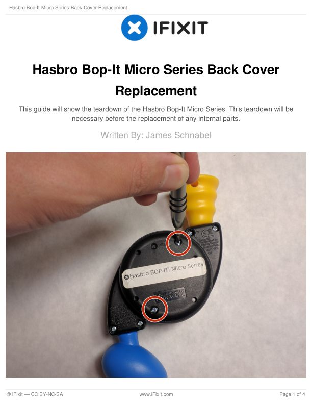 Hasbro Bop-It Micro Series Back Cover Replacement