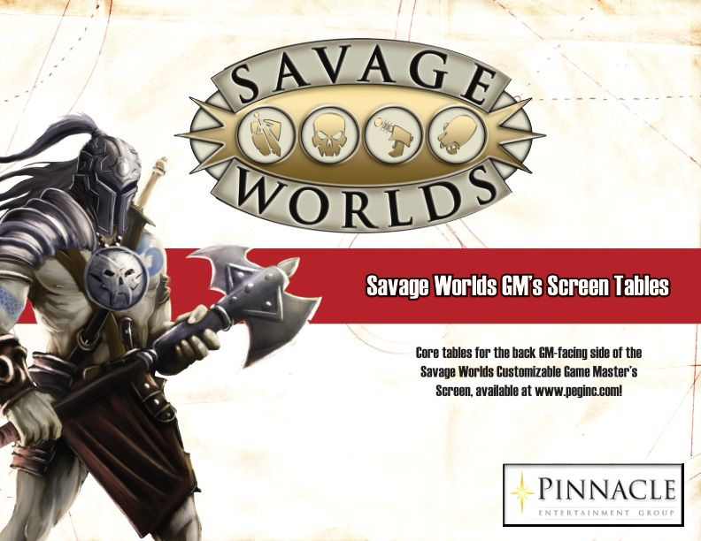 Savage Worlds - GM's Screen Tables - Deluxe