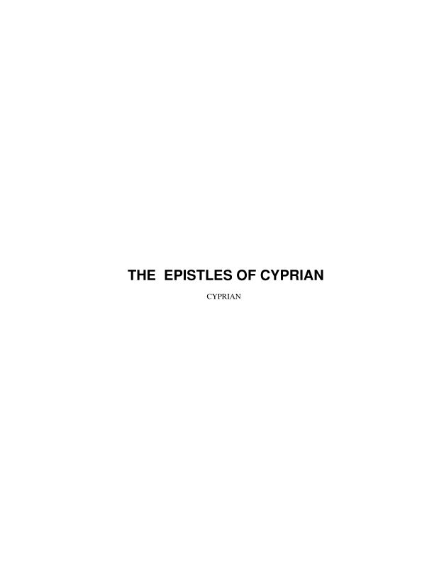 THE  EPISTLES OF CYPRIAN