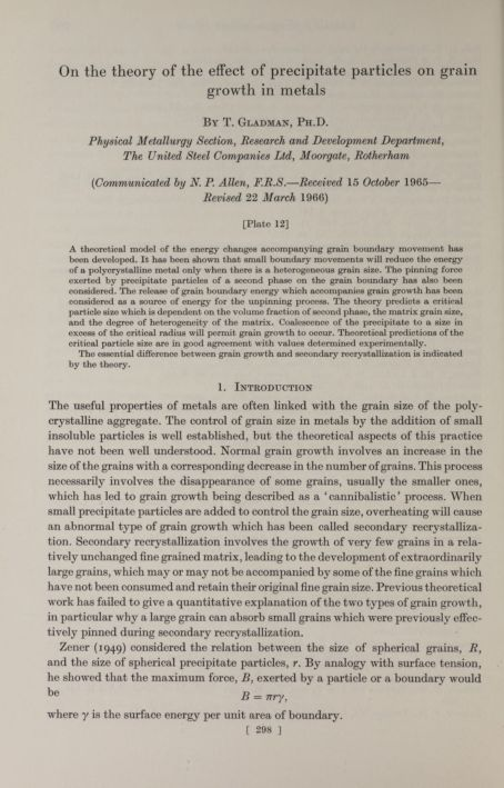 On the theory of the effect of precipitate particles on grain growth in metals