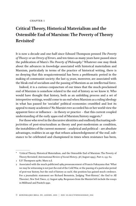 Chapter 1. Critical Theory, Historical Materialism and the Ostensible End of Marxism: The Poverty of Theory Revisited   Page 5