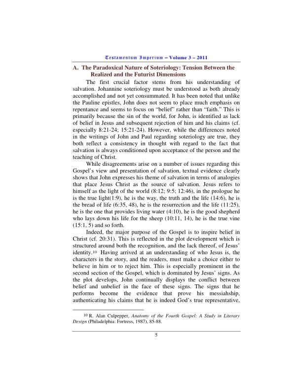 A.  The Paradoxical Nature of Soteriology: Tension Between the Realized and the Futurist Dimensions | Page 0