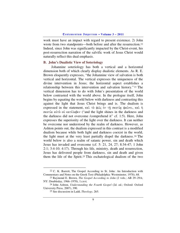 B.  John's Dualistic View of Soteriology | Page 1