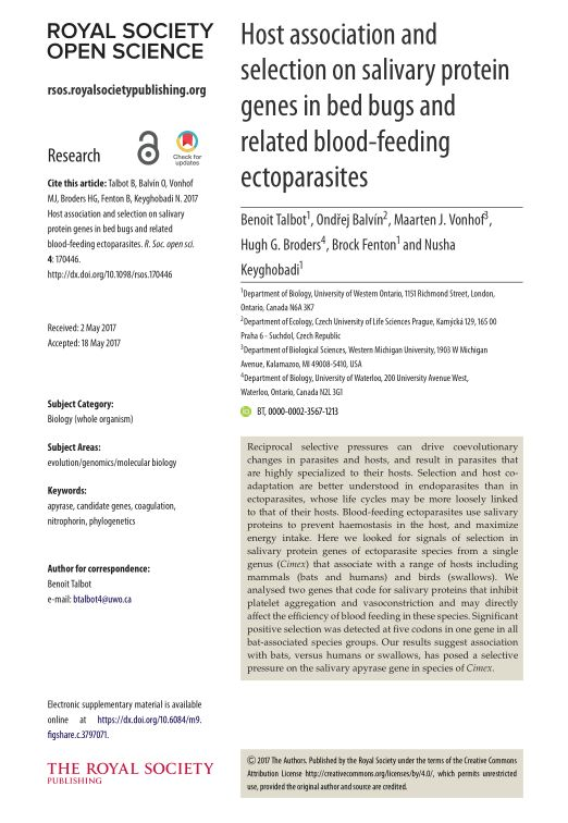 Host association and selection on salivary protein genes in bed bugs and related blood-feeding ectoparasites
