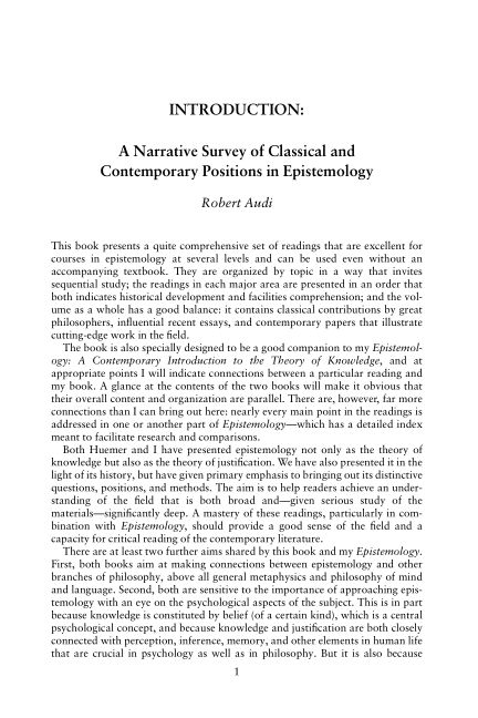 INTRODUCTION: A NARRATIVE SURVEY OF CLASSICAL AND CONTEMPORARY POSITIONS IN EPISTEMOLOGY   Page 8