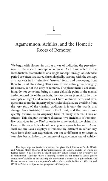 1. Agamemnon, Achilles, and the Homeric Roots of Remorse | Page 9