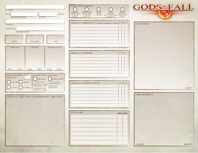 Gods of the Fall - Character Sheet
