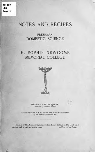 Notes and recipes, freshman domestic science, H. Sophie Newcomb memorial college