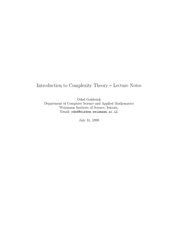 Introduction to Complexity Theory Lecture Notes - Oded Goldreich