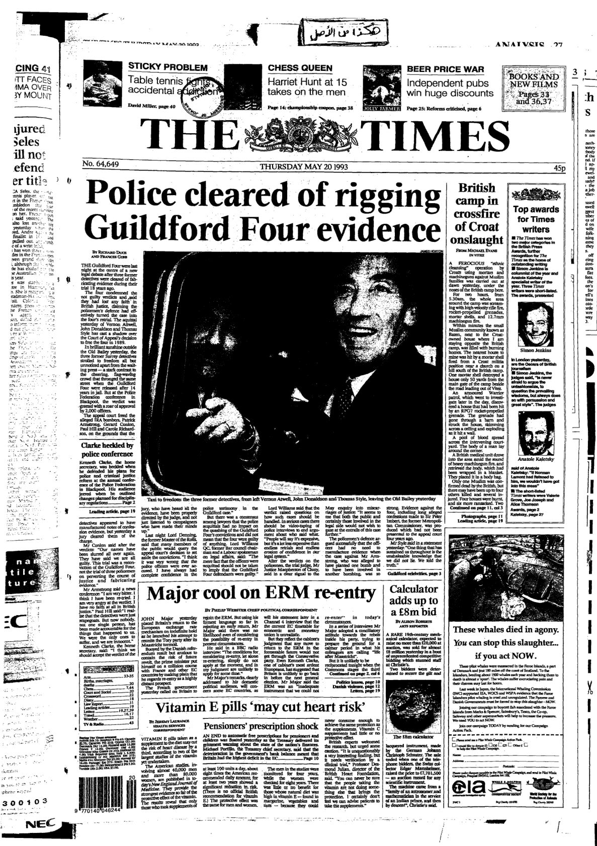 The Times Issue No. 64649. 1993-05-20, UK