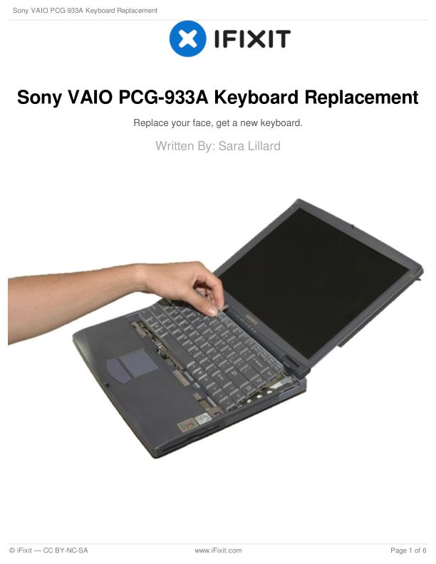 Sony VAIO PCG-933A Keyboard Replacement