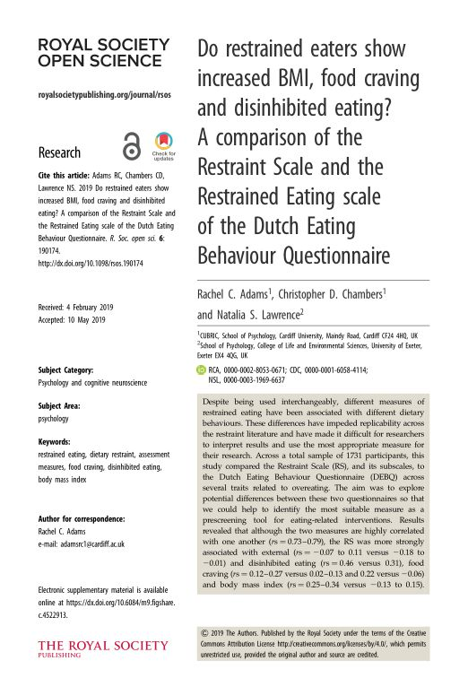 Do restrained eaters show increased BMI, food craving and disinhibited eating? A comparison of the Restraint Scale and the Restrained Eating scale of the Dutch Eating Behaviour Questionnaire